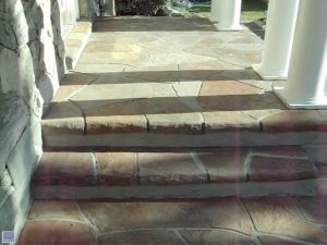 Decorative overlay on front porch and Courtyard