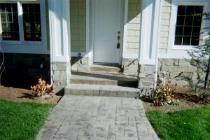 Decorative overlay front porch and walk