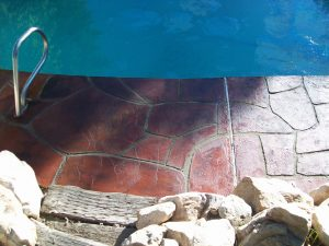 decorative overlay around pool