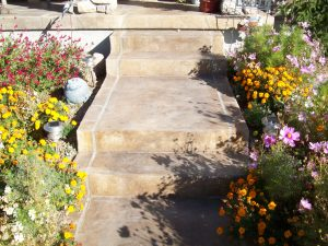 decorative overlay on front porch and Steps